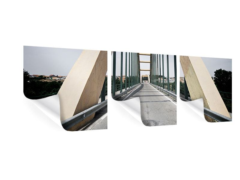 Panorama Poster 3-teilig Imposante Hängebrücke