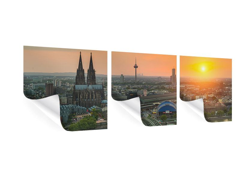 Panorama Poster 3-teilig Skyline Köln bei Sonnenuntergang