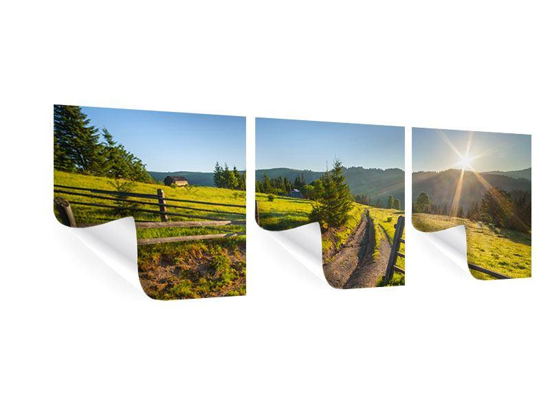 Panorama Poster 3-teilig Sonnenaufgang am Berg