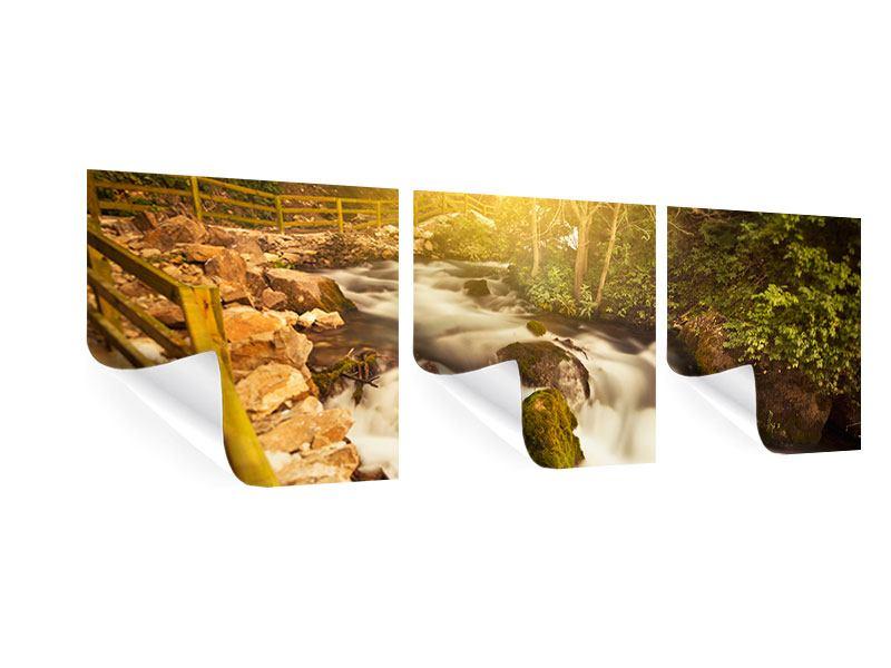 Panorama Poster 3-teilig Sonnenuntergang am Wasserfall