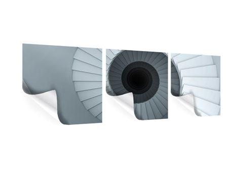 Panorama Poster 3-teilig 3D Wendeltreppe