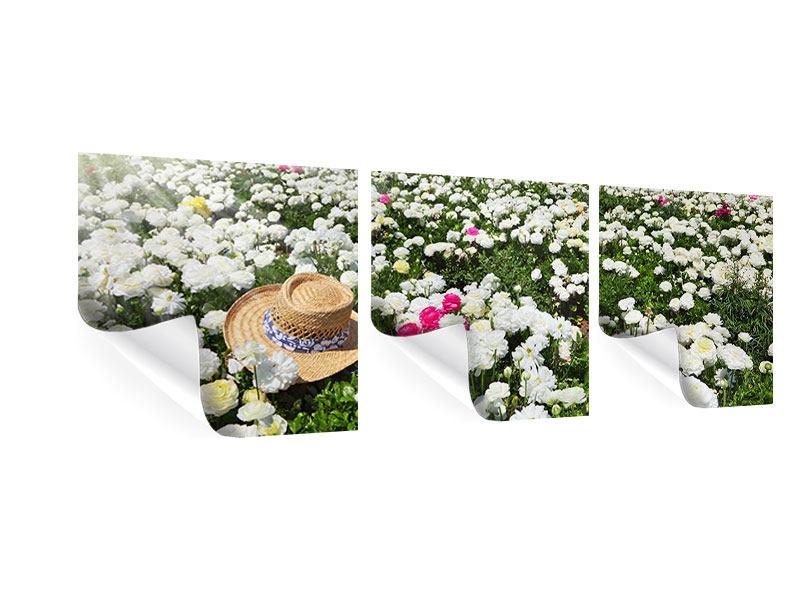 Panorama Poster 3-teilig Die Frühlingsblumenwiese