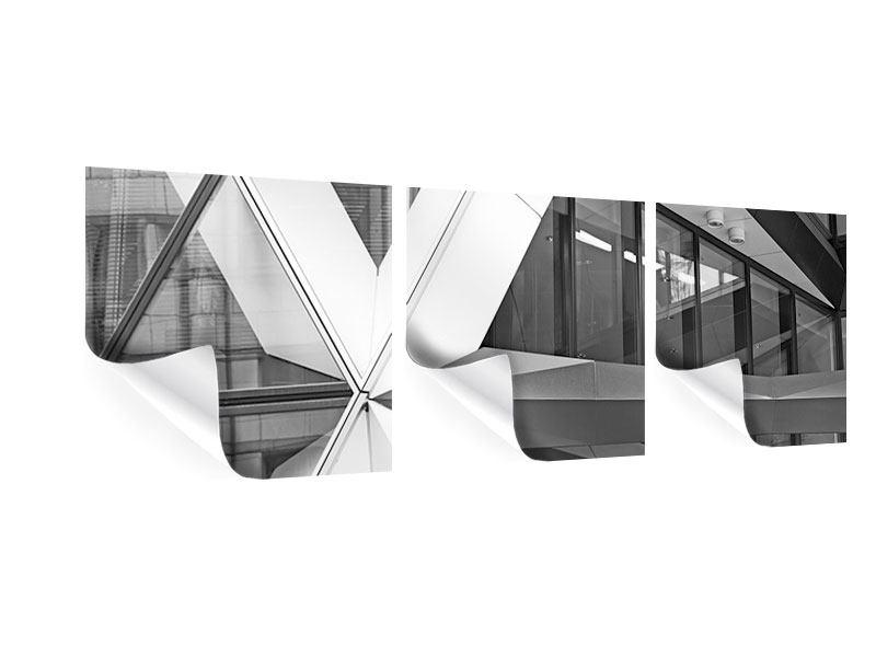 Panorama Poster 3-teilig Teil eines Wolkenkratzers