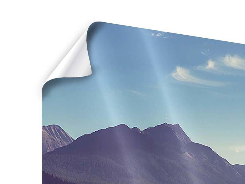 Panorama Poster 3-teilig Bergspiegelung