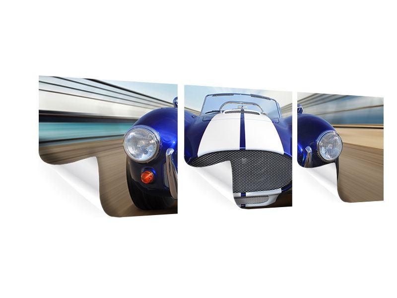 Panorama Poster 3-teilig Rennwagen