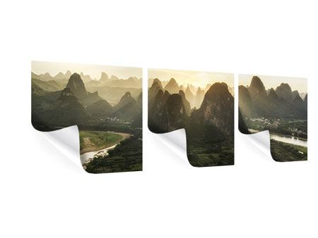 Panorama Poster 3-teilig Die Berge von Xingping