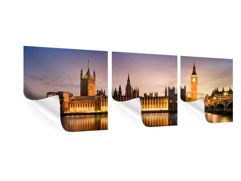 Panorama Poster 3-teilig Big Ben in der Nacht