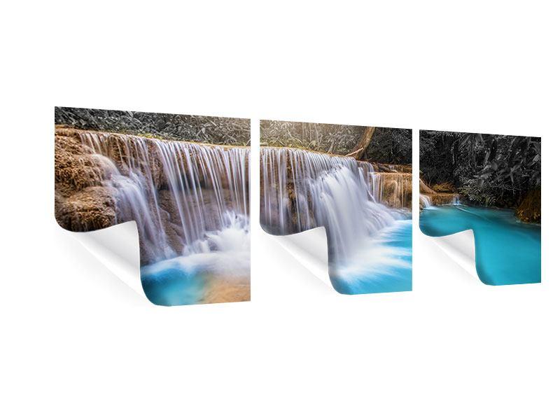 Panorama Poster 3-teilig Glücklicher Wasserfall