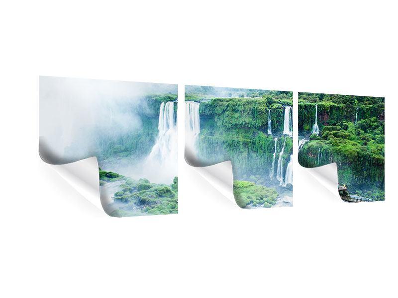 Panorama Poster 3-teilig Wasserfälle