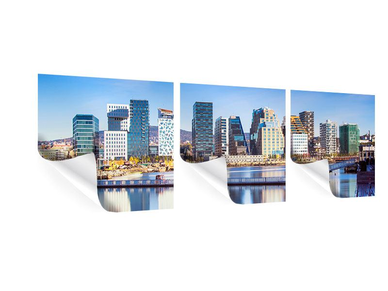 Panorama Poster 3-teilig Skyline Oslo