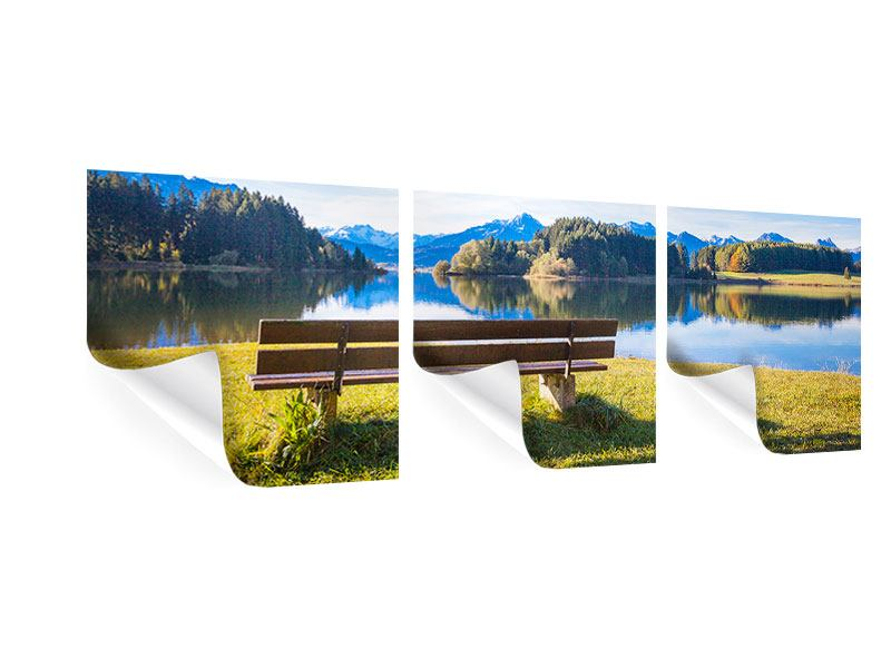 Panorama Poster 3-teilig Sitzbank mit Bergpanorama