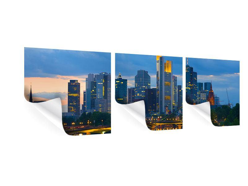 Panorama Poster 3-teilig Skyline Frankfurt am Main
