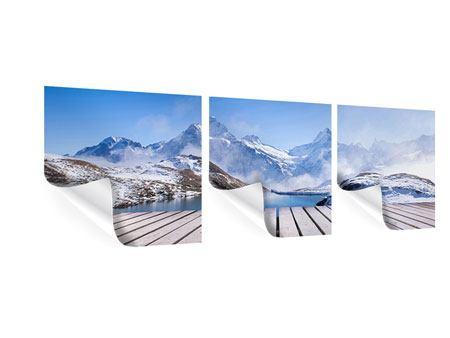 Panorama Poster 3-teilig Sonnenterrasse am Schweizer Bergsee