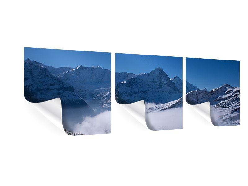 Panorama Poster 3-teilig Sonnenterrasse in den Schweizer Alpen