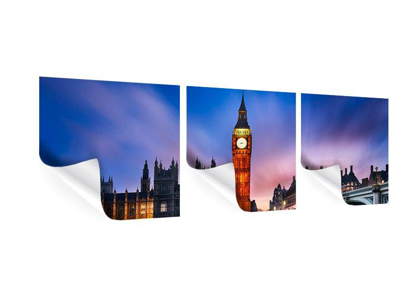 Panorama Poster 3-teilig Nachts am Big Ben