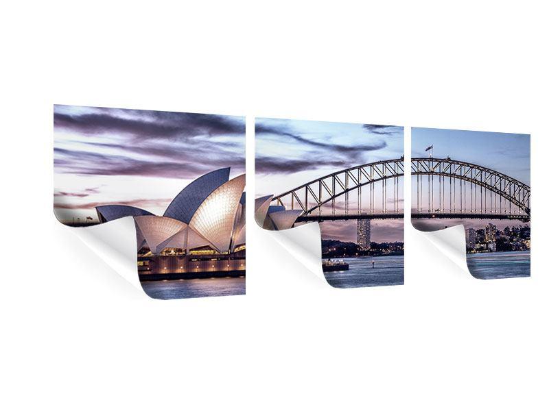 Panorama Poster 3-teilig Skyline Sydney Opera House