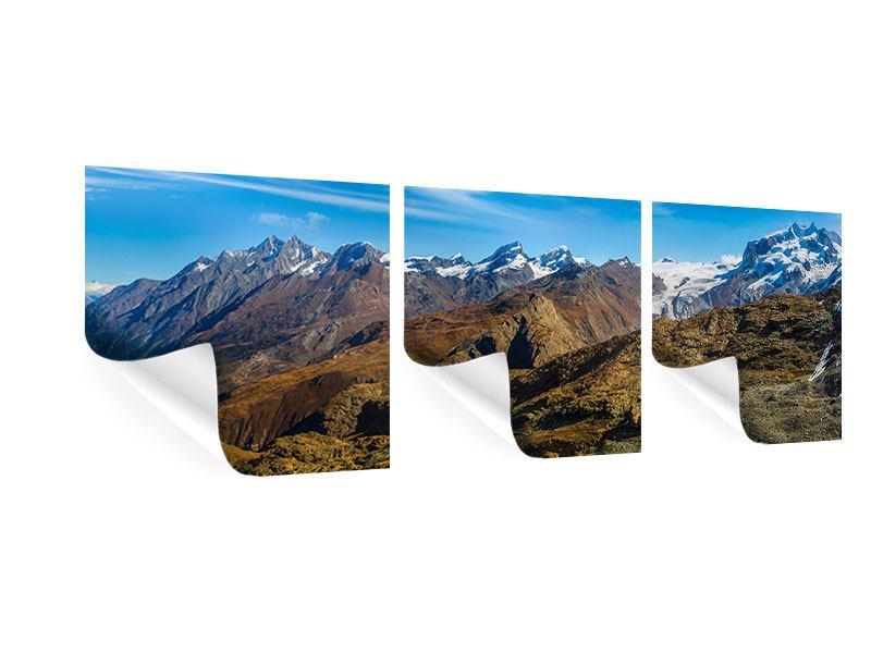 Panorama Poster 3-teilig Schweizer Alpen im Frühling