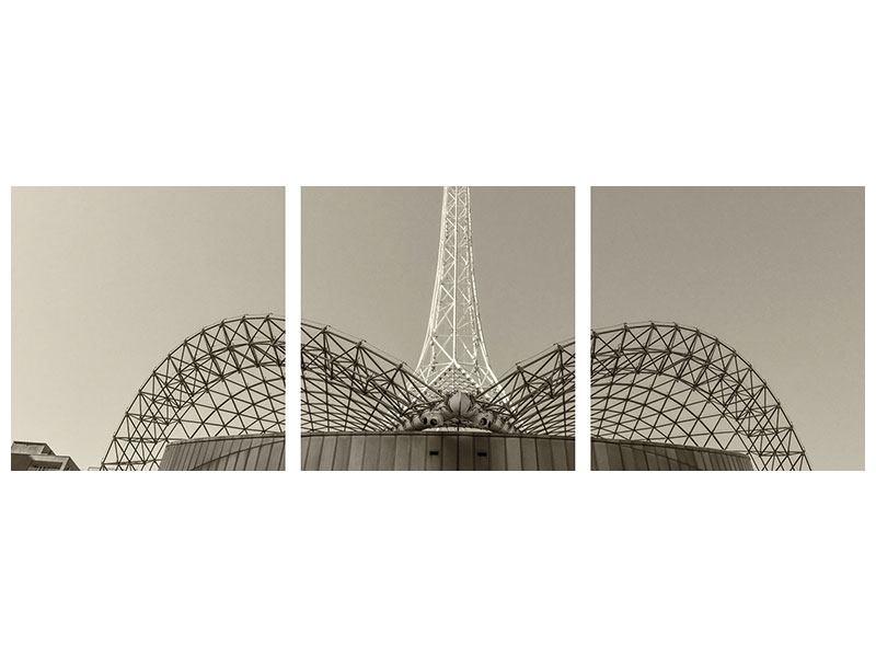 Panorama Poster 3-teilig Close Up Wolkenkratzer