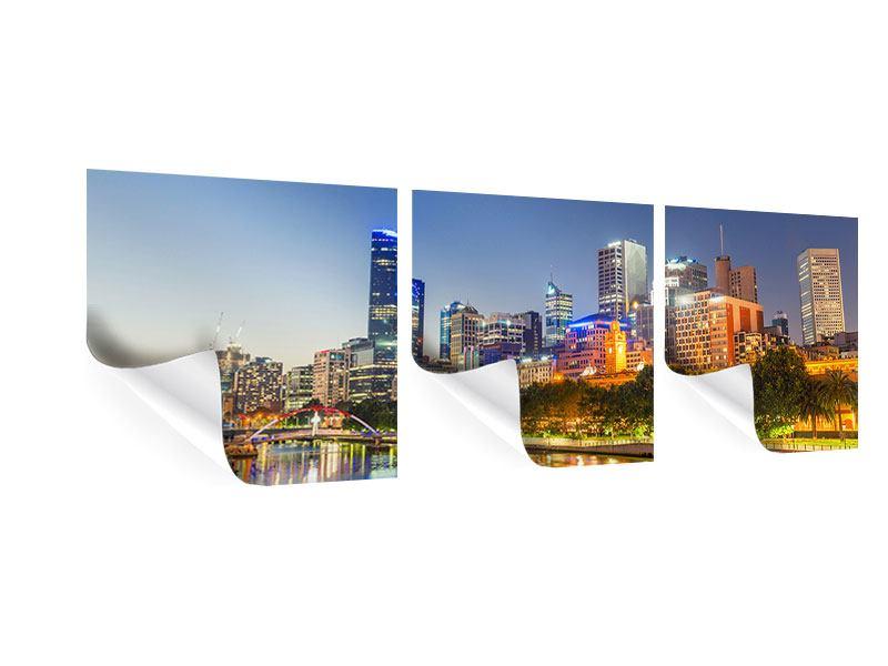 Panorama Poster 3-teilig Skyline Sydney in der Abenddämmerung