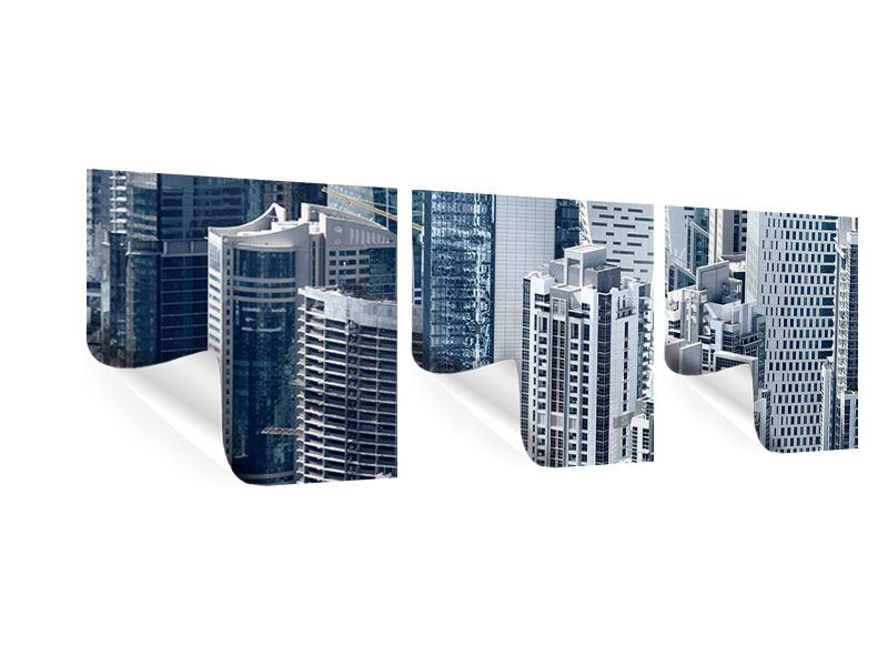 Panorama Poster 3-teilig Die Wolkenkratzer von Dubai