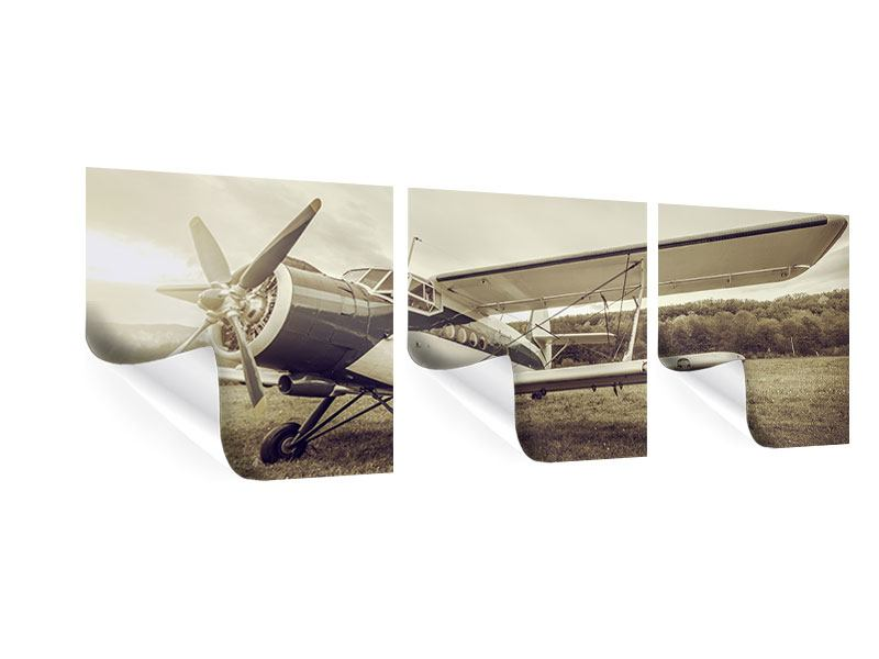 Panorama Poster 3-teilig Nostalgisches Flugzeug im Retrostyle