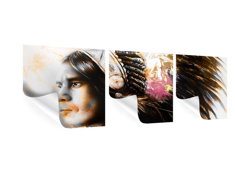Panorama Poster 3-teilig Kunstvolles Indianer-Portrait