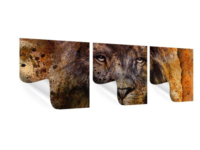Panorama Poster 3-teilig Portrait eines Löwen