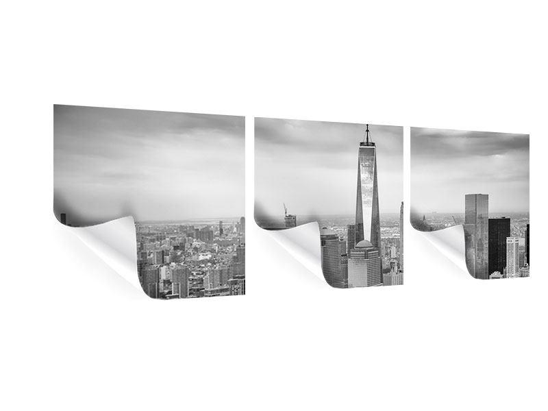Panorama Poster 3-teilig Skyline Schwarzweissfotografie New York