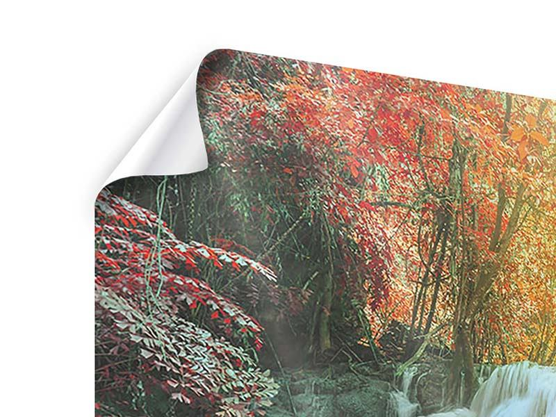 Panorama Poster 3-teilig Wasserfall im Licht