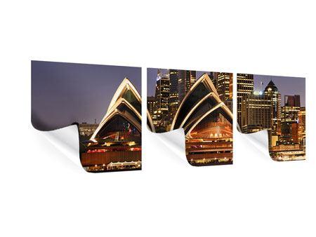 Panorama Poster 3-teilig Skyline Mit dem Boot vor Sydney