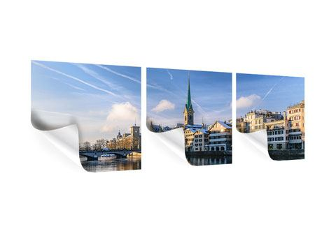 Panorama Poster 3-teilig Zürich