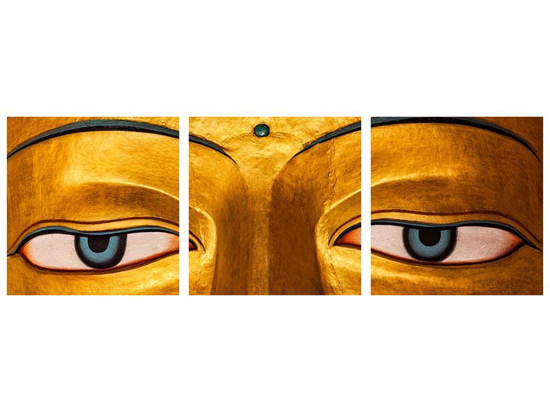 Panorama Poster 3-teilig Die Augen eines Buddhas