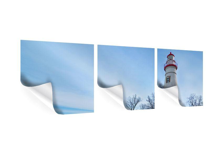 Panorama Poster 3-teilig Leuchtturm im Schnee