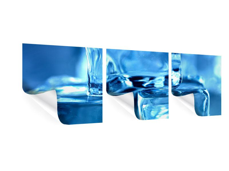 Panorama Poster 3-teilig Eiswürfel XXL
