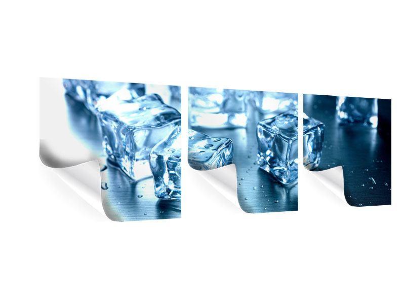 Panorama Poster 3-teilig Viele Eiswürfel