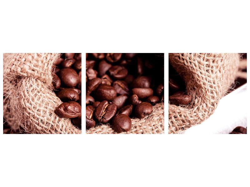 Panorama Poster 3-teilig XXL Kaffeebohnen