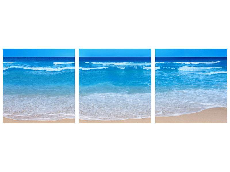 Panorama Poster 3-teilig Sanfte Strandwellen