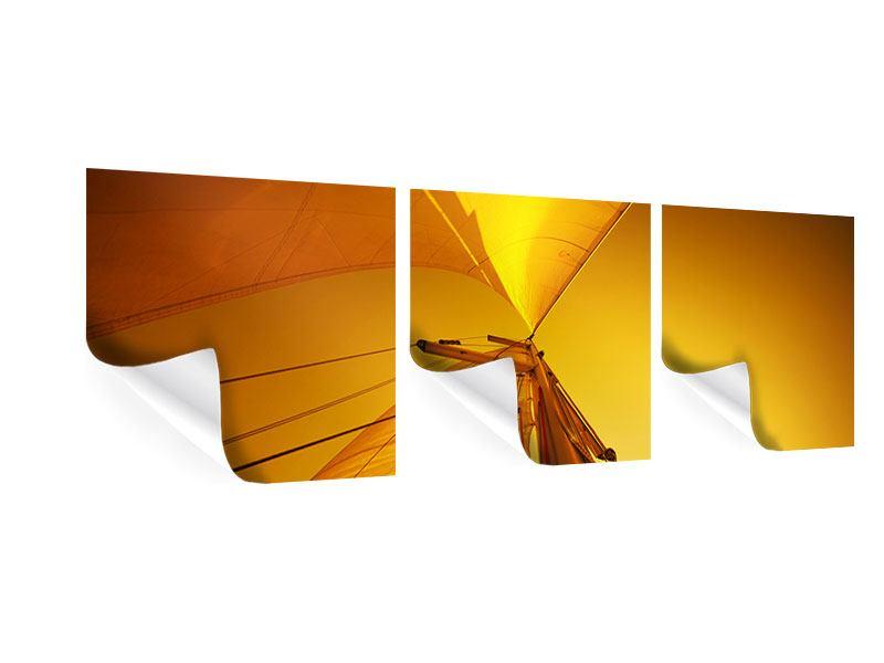 Panorama Poster 3-teilig Segelboot im Sonnenuntergang
