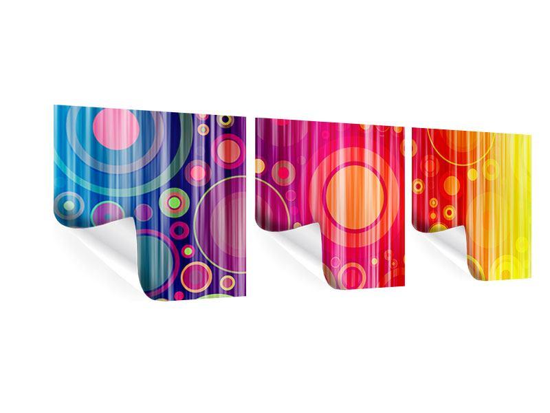 Panorama Poster 3-teilig Grunge-Retrokreise