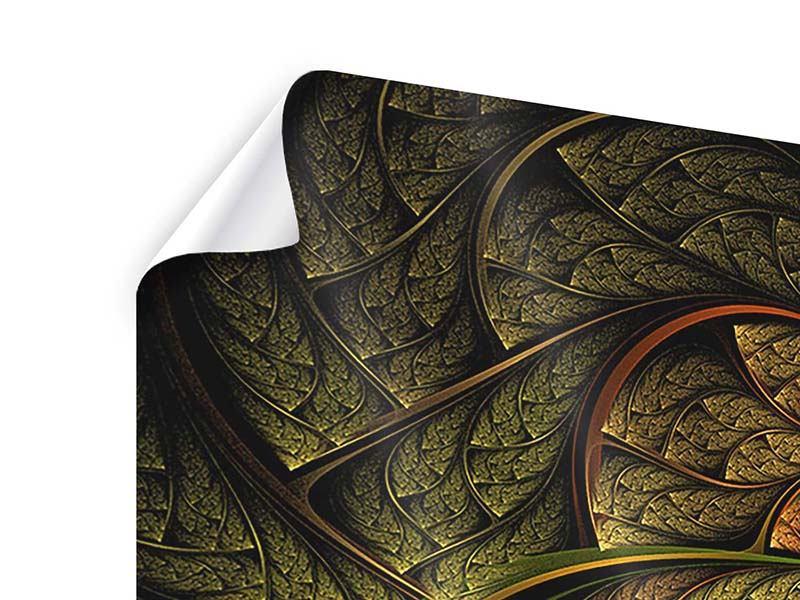 Panorama Poster 3-teilig Abstraktes Blumenmuster