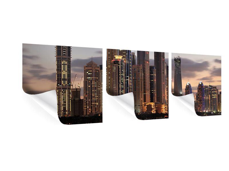 Panorama Poster 3-teilig Skyline Dubai bei Sonnenuntergang