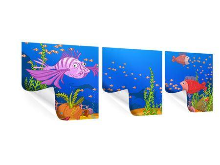Panorama Poster 3-teilig Der Schatz unter Wasser