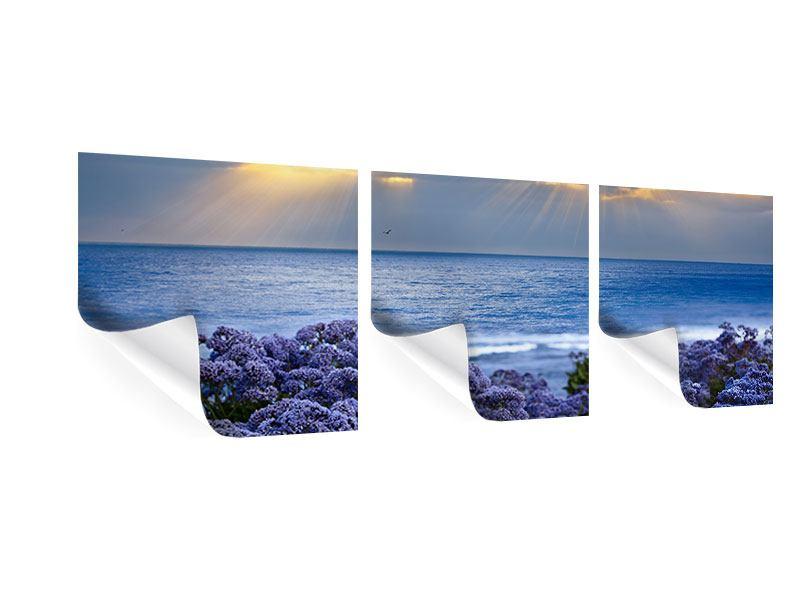 Panorama Poster 3-teilig Der Lavendel und das Meer