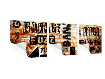 Panorama Poster 3-teilig Rock im Grungestil