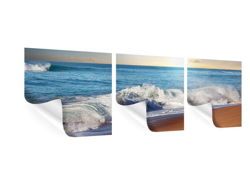 Panorama Poster 3-teilig Die Wellen des Meeres