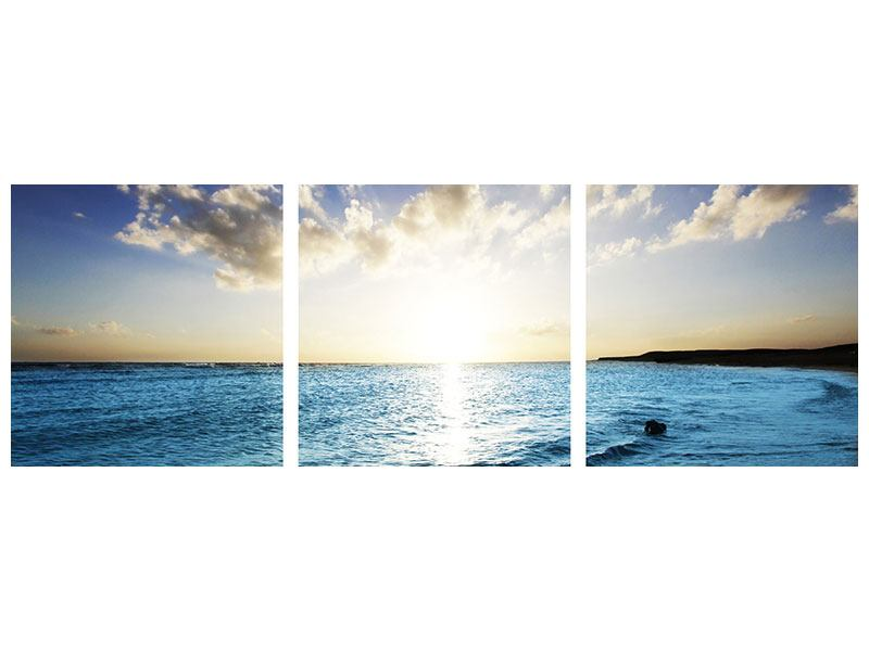 Panorama Poster 3-teilig Das Meer im Sonnenaufgang