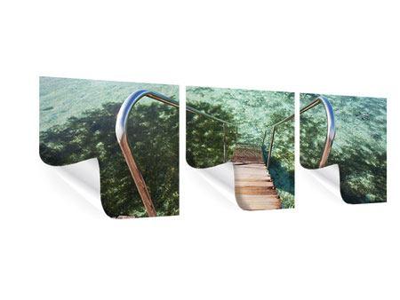 Panorama Poster 3-teilig Bad im Meer