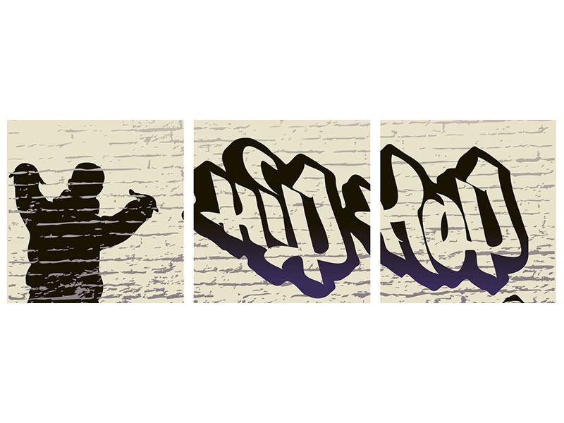 Panorama Poster 3-teilig Graffiti Hip Hop