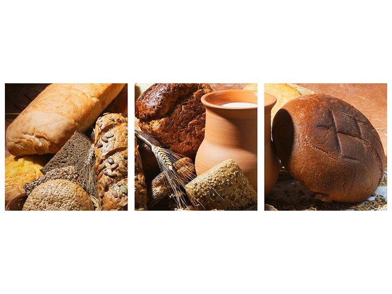 Panorama Poster 3-teilig Frühstücksbrote