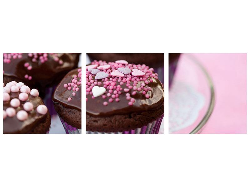Panorama Poster 3-teilig Muffins